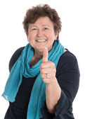 Isolated happy older woman with thumb up — Stock Photo