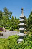 Wonderful japanese garden with a temple or tibetan stupa. — Stock Photo
