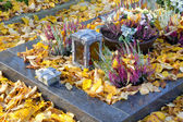 Autumn decoration on the tomb full of leaves. — Stock Photo