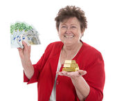 Isolated senior woman with money: concept for pension and herita — Photo