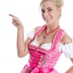 Beautiful bavarian woman isolated making promotion for Oktoberfe — Stock Photo #48822965