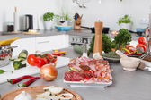 Fresh vegetables and sausages - concept for healthy lifestyle. — Stock Photo