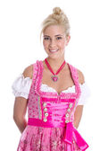 Pretty isolated young woman wearing bavarian dress called dirndl — Stock Photo