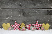 Wooden christmas background with handemade things. — Stock Photo