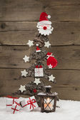 Classic christmas decoration in red and white: wooden tree. — Stock Photo