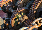 Aged technology: Old and rusty gearwheel on an old ship - retro  — Stock Photo