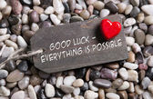 Good luck and everything is possible: greeting card with red hea — Stock Photo