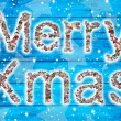 Merry Xmas wishes on blue wooden background and collage. — Stock Photo #50137305