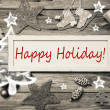 Happy Holiday - shabby chic style christmas card in grey, red an — Stock Photo #50138041
