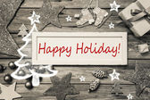Happy Holiday - shabby chic style christmas card in grey, red an — Stock Photo