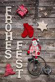 Merry christmas card with german text on wooden background with — ストック写真