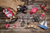 Old wooden and tin toys for children - christmas decoration vint — Stockfoto