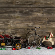 Vintage: old children toys for a christmas decoration - car, hor — Stock Photo #50140079