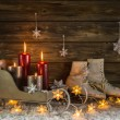 Christmas decoration with four burning candles and old vintage o — Stock Photo #50144183