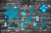 Turquoise or blue christmas decoration on wooden shabby chic bac — Stock Photo