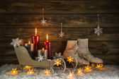 Christmas decoration with four burning candles and old vintage o — Stock Photo