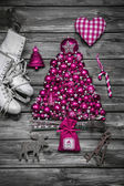 Christmas decoration: shabby chic or country style in vintage lo — Stock Photo