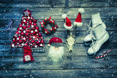 Christmas country style decoration of wood in white and red colo — Stock Photo