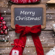 Merry christmas greeting card in classic style: red, white, wood — Stock Photo