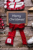 Merry christmas greeting card in classic style: red, white, wood — Stok fotoğraf