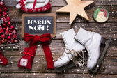 """Merry Christmas in french text """"Joyeux Noel"""" - country style red — Stock Photo"""