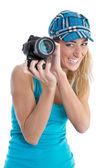 Professional female stock photographer isolated on white holding — Stock Photo