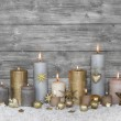 Merry christmas greeting card: wooden grey shabby chic backgroun — Stock Photo #50933787