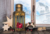 Nostalgic old christmas decoration with old toys and a old lante — Stock Photo