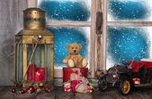 Christmas window sill decoration with old nostalgic toys. — Stock Photo