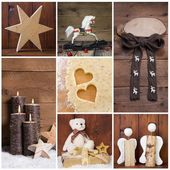 Natural christmas decoration with wood. Different objects in squ — Stock Photo