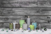 Shabby chic christmas decoration on grey wooden background with  — Stockfoto