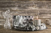 Silver and beige christmas decoration with present, angel and ca — Stock Photo