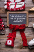 German merry christmas card with german text - decorated in red, — Stock Photo