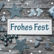 Shabby chic german christmas card with text in blue, grey and wh — Stock Photo