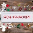 Greeting card for christmas with german text for merry christmas — Stock Photo #50999225