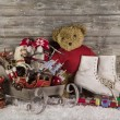 Old children toys on wooden background for christmas decoration. — Stockfoto #50999485
