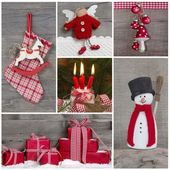 Classic christmas decoration in red and white with snow. Collage — Stock Photo