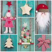 Country style: christmas decoration in classic colors green and  — Stock Photo