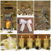 Naturalne świąteczne dekoracje z drewna, śnieg i różnych golde — Zdjęcie stockowe