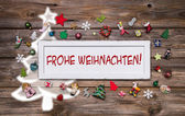 Greeting card for christmas with german text for merry christmas — Stock Photo