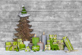 Shabby chic green and white christmas decoration on grey wooden — Stock Photo
