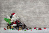 Christmas decoration: Red santa claus in hurry to buy christmas  — Stok fotoğraf