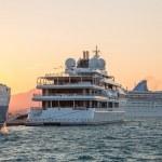 Sunset: Luxury large super or mega motor yacht in the evening. — Stock Photo #51035193