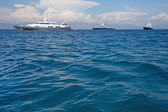 Luxury large super or mega motor yacht in the blue sea. — Stock Photo
