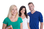 Isolated happy group of young smiling people like students or tr — Stock Photo