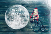 Merry christmas around the world - greeting card with text decor — 图库照片