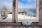 Winter holiday traveller concept: Wooden window sill with sail b — Zdjęcie stockowe