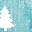 Advent background of old wood in turquoise and a christmas tree. — Stock Photo #51220453