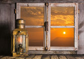 Romantic background of wood with sunrise decorated with an old c — Stock Photo