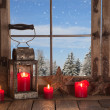 Country Christmas decoration: wooden window decorated with red c — Stockfoto #51344531